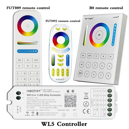 WL5 wifi 5 in 1 led strip controller for RGBW RGB+CCT led strip;2.4G HZ remote:FUT092,8 Zone FUT089,B8 Wall-mounted Touch Panel