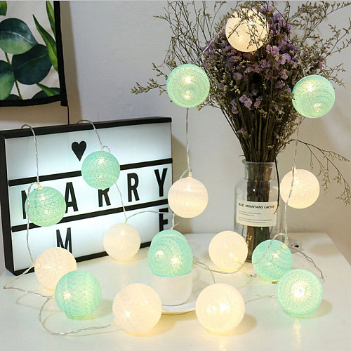 Cotton Balls LED String Garland Lights Night Lamp Chain Party Holiday Wedding Fairy Baby Bedroom Christmas Outdoor Decorations