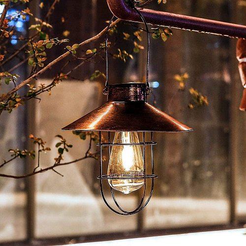 Solar Lantern Lamp Outdoor Hanging Waterproof Vintage Metal Solar Garden Lights with Tungsten Bulb Decorative for Patio Backyard