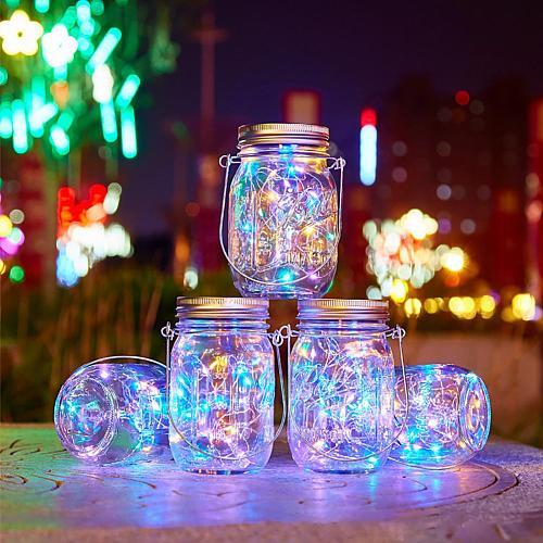 Solar Light LED Waterproof IP65 Intelligent Control Mason Jar Hanging Lantern Party Wall Table Decorative Lamp