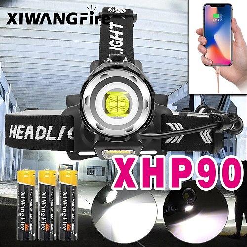 50000 LM XHP90 Powerful Led Headlamp XHP70 Led Headlight Rechargeable USB Head Flashlight XHP50 Zoom Head Torch Camping Light