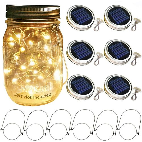 ABSS-Solar Mason Jar Lid Lights, 6 Pack 20 Led String Fairy Star Firefly Jar Lids Lights,6 Hangers Included(Jars Not Included)