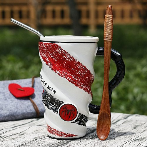 500mlCartoon luo wen bei Office Mug with Lid Spoon Milk Coffee Cup Ceramic Cup Water Cup