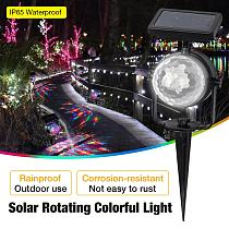 LED Solar Spotlight Rotating Colorful Starry Floodlight IP65 Waterpoof Outdoor Projector Decoration Lamp for Garden Yard Lawn