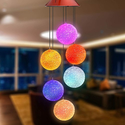 Solar Power Lights Wind Spinner Wind Chime LED Light Hanging Lamp Outdoor for Home Garden Lighting Decoration solar lights