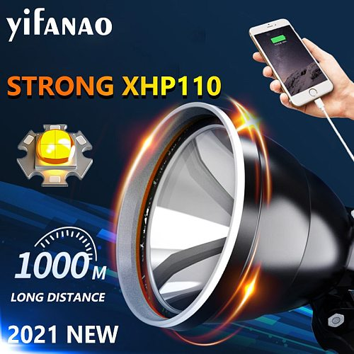 Upgrade XHP110 4 CORE LED Headlamp Torch 3x18650 7800mAH Rechargeable Flashlight Headlights for Outdoor Camping Hunting Fishing