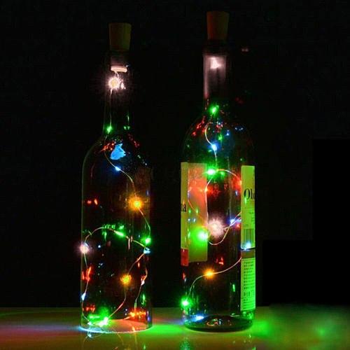 1PC 1.5M/2M Solar String Lights Cork Wine Bottle Stopper Copper Wire Fairy Lamps Home LED Wedding Party Decoration Fairy Light