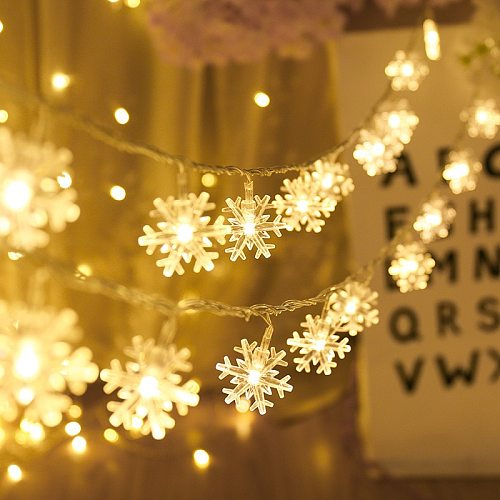 1M/3M Snowflake LED String Lights Fairy Lights Outdoor Battery Operated Garland Christmas Decoration New Year Party Wedding Xmas