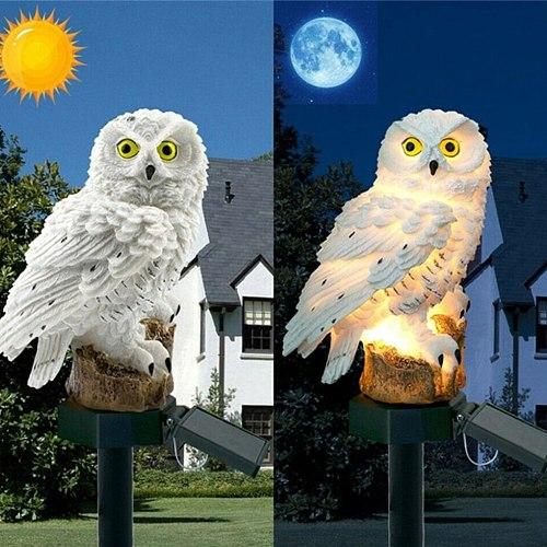 Owl Solar Light With Solar LED Panel Fake Owl Waterproof Solar Garden Lights Owl Ornament Animal Bird Outdoor Lamps