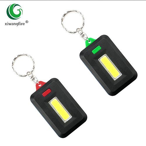 2PCS Mini COB LED Keychain Flashlight 3 Modes Key Chain Portable Keyring Flash Light Lamp Torch Pocket Emergency Light Use 3*AAA