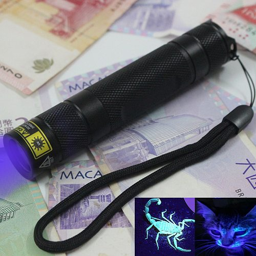 UV led Flashlight 365nm Invisible Torch Urine Stains Detector Passport currency Blood check Portable flashlight Use 18650 batter
