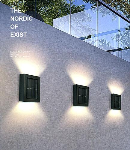 2Pcs Solar Wall Lamp Outdoor Garden Household Waterproof Wall Lamp Light Up Down Garden Decorative Wall Lamp Outdoor Lighting