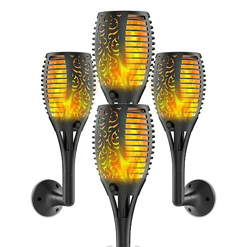 96 LED Solar Lights Outdoor Solar Torch Light with Flickering Flame Romantic Landscape Lights for Pathway-Auto On/Off 33/51LED