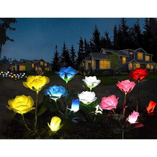 LED Solar Rose Garden Lamp Outdoor LED Solar Light RGB Color Lily Garden Flower Lamp Solar Power Yard Lawn Path Wedding Lights