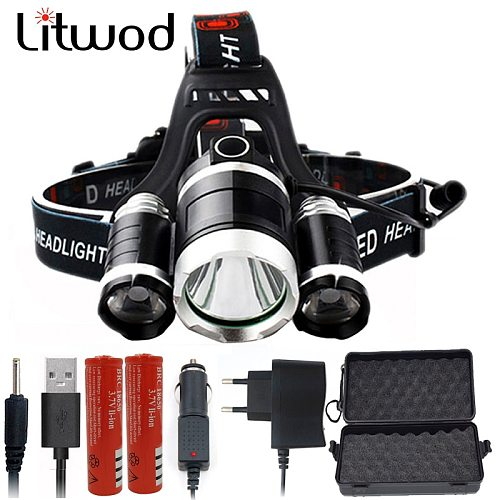 Litwod DZ30 3 T6 8000LM XM-L2 T6 LED Headlamp Headlight 9000LM light Head Lamp frontal Flashlight torch for battery AC charger
