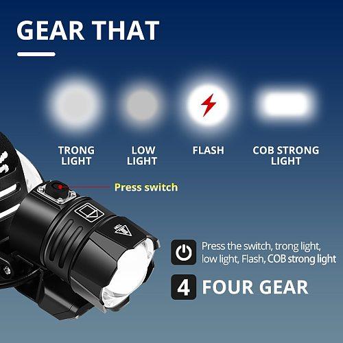 Powerful XHP100.2 Headlamp USB Rechargeable Led With COB Light XHP70.2 Powerful Headlight Hunting Lantern Waterproof Use 3x18650