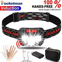 20000lums LED Headlamp Motion Sensor Head Lamp light Flashlight Built-in battery inductive Headlight USB Rechargeable Headlamps