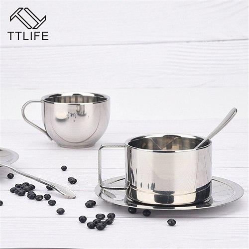Stainless Steel Coffee Cups Set Double-deck Thermal Insulation Coffee Mug Tea Cups Set Tea Set Milk Mug with Saucer Mat Spoon