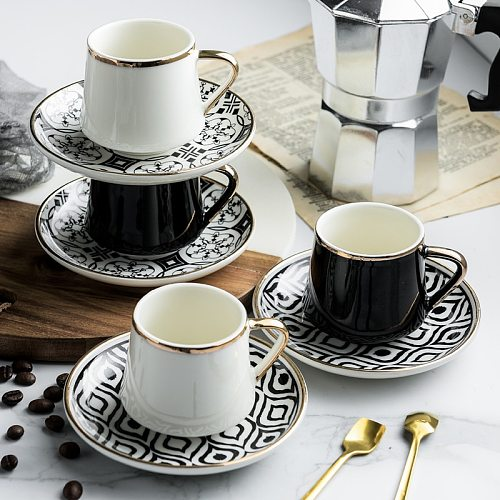 80ml Turkish Espresso Cups With Saucers Ceramic Cup Set For Black Tea Coffee Kitchen Party Drink Ware Home Decor Creative Gifts