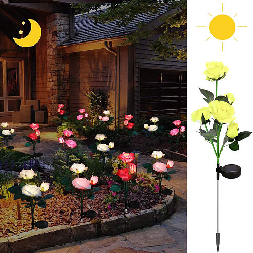 Outdoor Realistic Solar Powered Rose Lights 3heads/5heads Waterproof Flower Stake For Garden Patio Yard Pathway Lawn Decoration