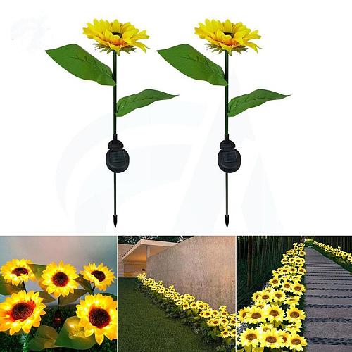 Sunflower LED Solar Lawn Lamps Waterproof Outdoor Path Flower Decoration Lights Light Sun LED Decor Garden Solar Lamp Garde F8P4