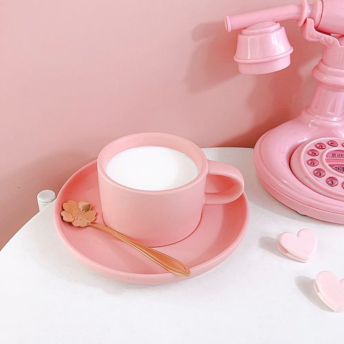 Pink Macaron Mug Creative Simplicity Ins Style Give Girl a Gift With Spoon and Saucer Afternoon Tea Set 200Ml Coffee Milk Cup