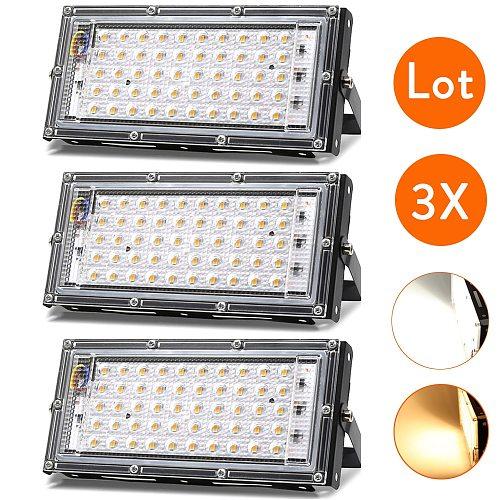 3Pcs/Lot LED Flood Light Bulbs 50W AC 110V 220V White Lamp Floodlight Spotlight Projector Outdoor Waterproof for Street Landscap