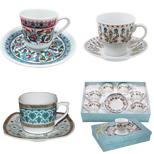 Tile Pattern Turkish Coffee Cup Sets, Stylish Cups and Saucers Otantic Topkapi Sultan Mug Tulip Clove Turquise Espresso Caprice