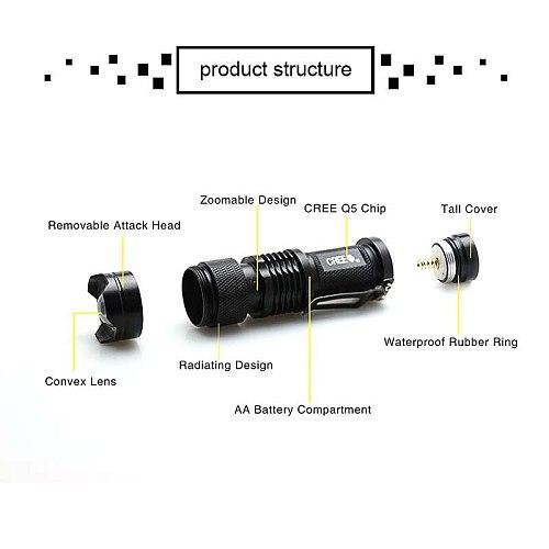 LED Portable Lanterns Q5 Flashlight Waterproof COB Camping AA 14500 Battery Flashlight For Camping Hiking Emergency Lighting