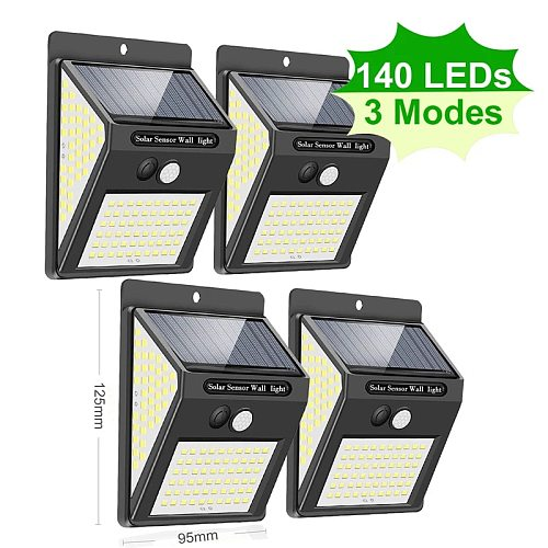 144 100 LED Solar Light Outdoor Motion Sensor Floodlight Solar Lamp PIR Solar Lights for Garden Decoration Sunlight Street Light