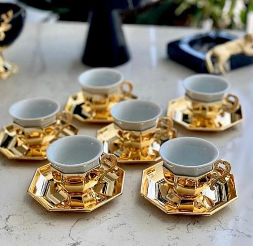 Luxury Set of 6 Person saucer and square cup mugs espresso cups Special Turkish Arabic Coffee Coffeeware Porcelain gold-silver