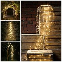 Solar Garden Light Tree Vines Copper Wire String 100 200 LED Gypsophila Fairy Holiday Christmas Party Garland Icicle LED String