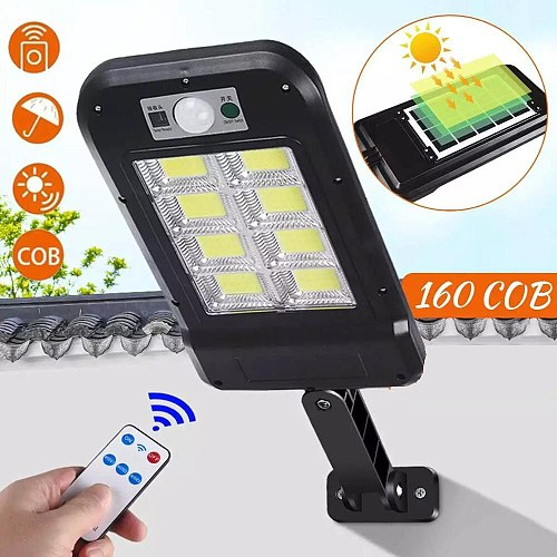Solar Light Street Lamp 160COB Smart Induction LED Solar Powered Waterproof PIR Motion Light for Garden Courtyard