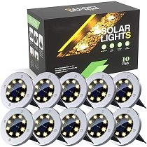 8 LED Solar Disk Lights Solar Ground Lights Outdoor Waterproof Stainless Steel in Ground Solar Lights for Walkway Pathway Lawn