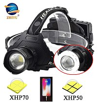 ZHIYU XHP 50 70 LED Headlamps 3 18650 Zoomable High Power Ultra Bright Head Light 5 Modes USB Rechargeable Flashlight Power Bank