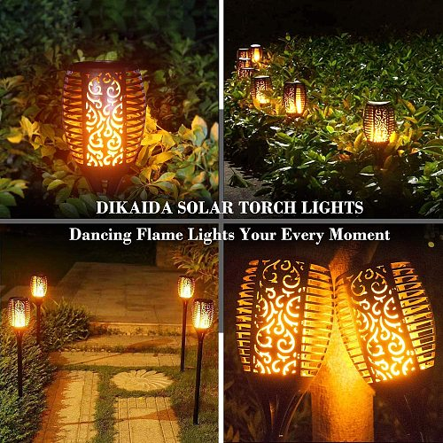 33/96 LED Solar Flame Lights Outdoor IP65 Waterproof Led Solar Garden Light Flickering Torches Courtyard Decoration Lawn Lamp