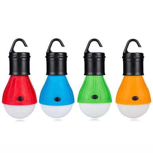 3 LEDs Tent Hanging Lamp 3 Modes LED Bulb Carabiner Bulb Light Portable Lantern Outdoor SOS Camping Lamp Emergency Lighting AAA