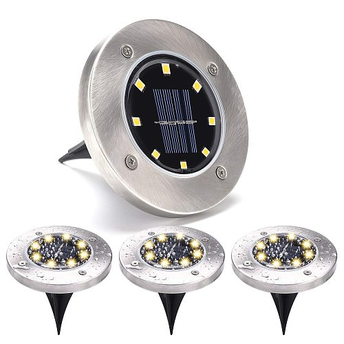 8LED Solar Stainless Steel Underground Lights Outdoor Plug-in Courtyard Garden Lawn Lights Street Lights Waterproof