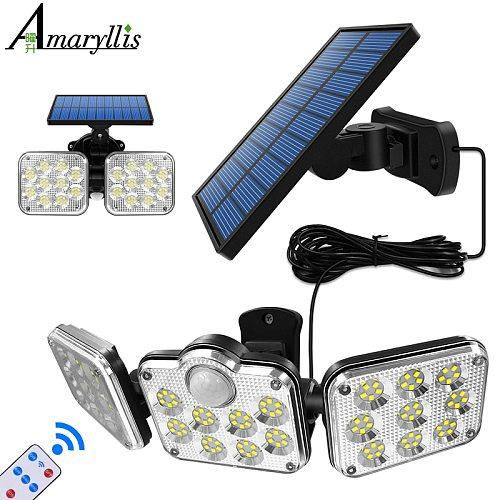 Solar Lights Adjustable Heads Solar Lamp IP65 Waterproof Solar Motion Sensor Light Wide Angle Illumination for Garage Garden