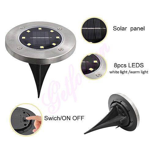 4-8pcs Solar Powered underGround Light Waterproof Garden Pathway Deck Lights 8 LEDs Home Yard Driveway Lawn Road outdoor lamp