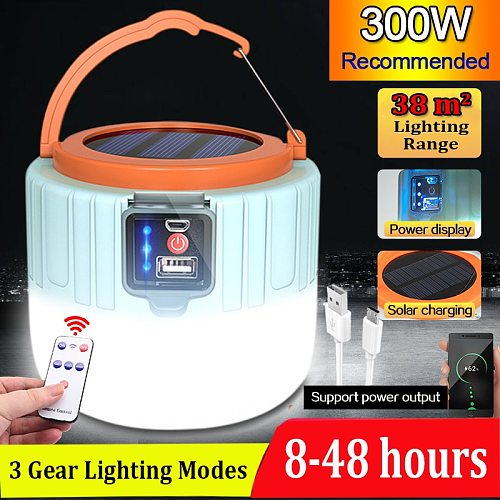 Solar LED Camping Light USB Portable Lanterns 300W USB Charging  Night LampMarket Lamp Energy-saving bulb Outdoor Emergency Lamp