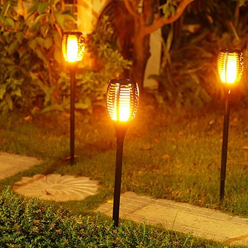 Path lights Solar Flame lamp Flickering Outdoor flame Torch Lighting Waterproof Landscape Yard Patio Garden Decoration Lawn Lamp