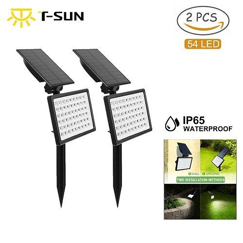 T-SUN 1-2pcs 54LED Outdoor Solar Light Lamp IP65 Adjustable Solar Spotlight Garden Decoration Light 3000k/6000k Solar Wall Light