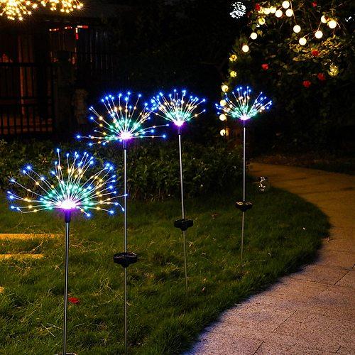 2pcs Xmas Party Home Holiday Decoration LED Solar Lawn Christmas Lights Firework Underground Garden Landscape Lamp
