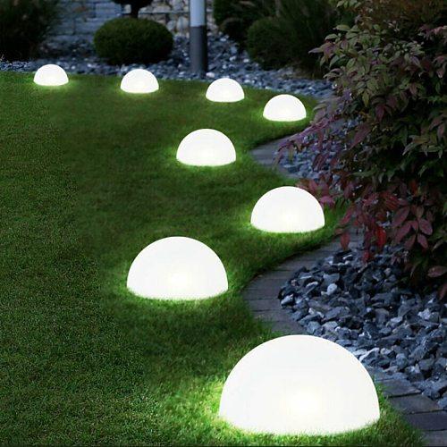 Plastic LED Solar Plug Light Half Global Ball Light String Outdoor Glow Garden Path Lawn Outdoor Landscape Decor Night Light