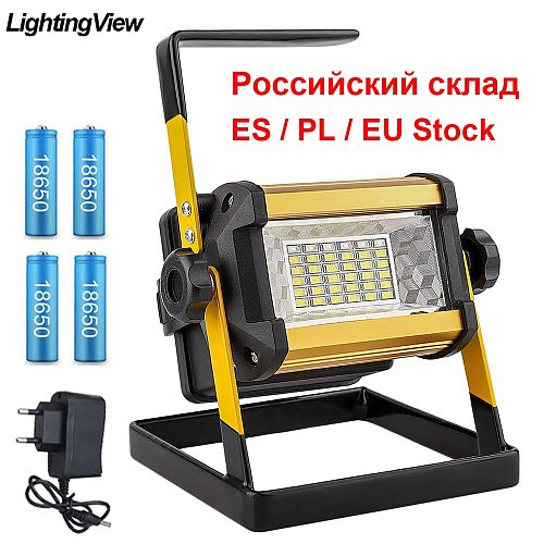 50W LED Flood Light Spotlight Outdoor LED Projector Reflector Construction Lamp Bouwlamp Rechargeable 18650 Batteries