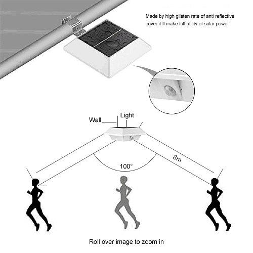 Outdoor PIR Motion Sensing Solar Light Fence IP44 Waterproof Night Light For Garden Decoration Gate Fence Wall Courtyard Cottage