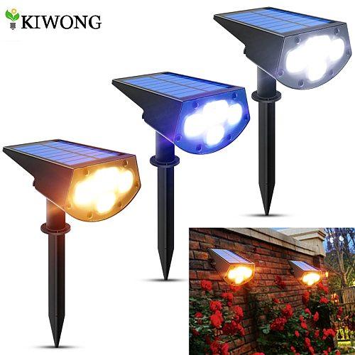 2in1 Solar Spotlights Outdoor Solar Landscape Lights Waterproof Adjustable Wall Lamp for Patio Pathway Yard Garden Driveway Pool