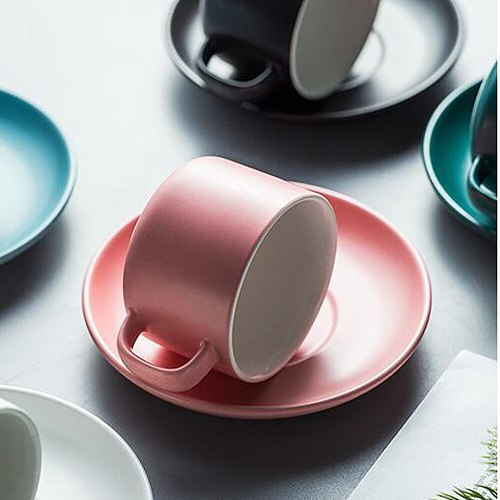 A set of Nordic Ceramic Coffee Cup And Saucer Simple Milk Juice Mug Breakfast Cups Afternoon Tea Cup And Dish Coffee Utensils