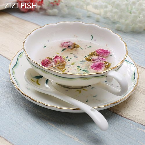 200ML European Style Bone China Coffee Cup and Saucer Set Creative Mug Ceramic Tea Cup Mug For Gift